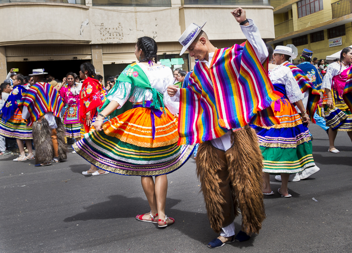 Traditional Ecuadorian dancers at the Latacunga Festival