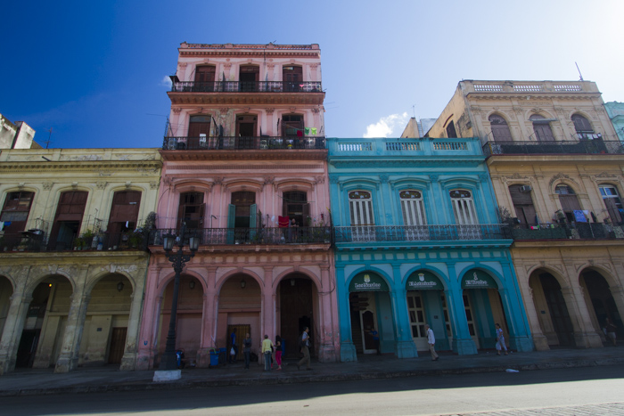 Colourful buildings, Paseo de Marti, Habana, Cuba