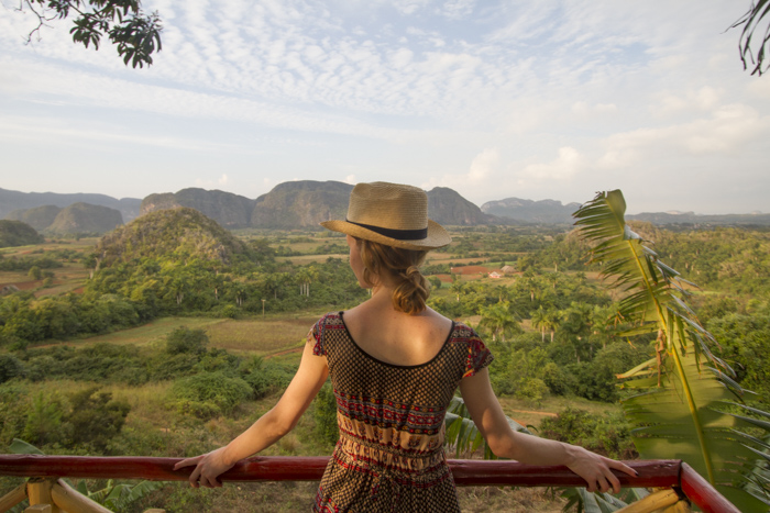 Looking at the view of Viñales from Balcon del Valle