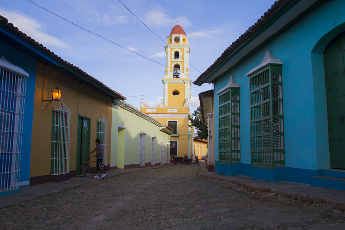 Colourful street of Trinidad with Convento San Francisco de Asis, Trinidad, Cuba