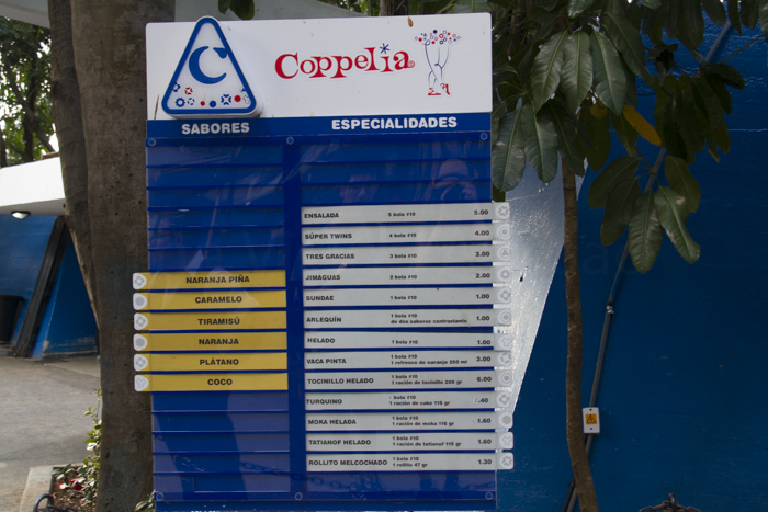 Coppelia Ice cream sign
