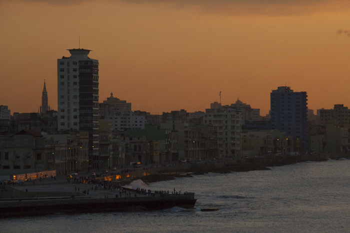 Sunset over Malecon, Havana